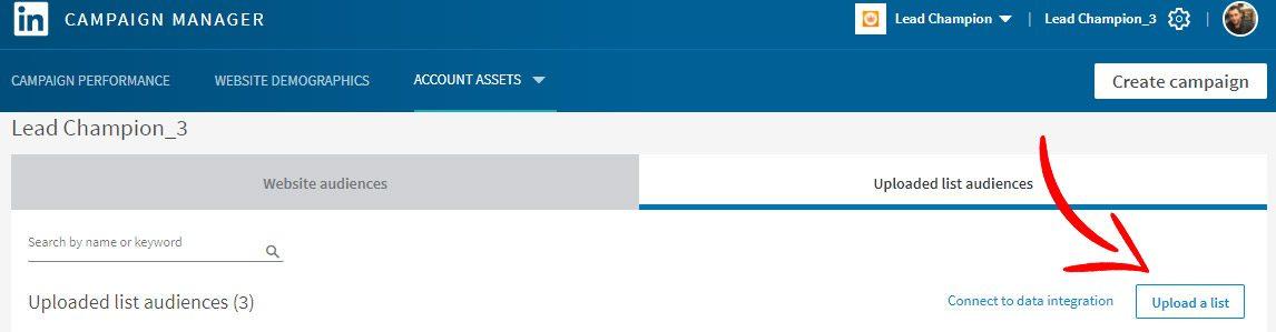 Account Based Marketing linkedin matched audience upload list