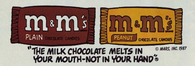 m&m's slogan: si scioglie in bocca non in mano