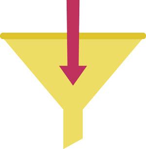 lead generation. disegno che rappresenta il funnel, cioè la forma ad imbuto del processo